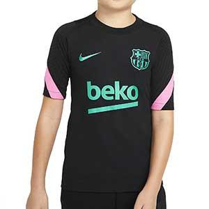 Camiseta Nike Barcelona niño entreno UCL 2020 2021 Strike - Camiseta de entrenamiento infantil Nike del FC Barcelona de Champions League 2020 2021 - negra - frontal