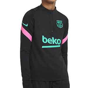 Sudadera Nike Barcelona niño entreno UCL 2020 2021 Strike - Sudadera infantil entrenamiento Nike del FC Barcelona de la Champions League 2020 2021 - negra - frontal
