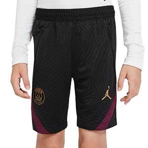 Short Nike PSG niño entreno UCL 2020 2021 Strike - Pantalón corto infantil Nike Paris Saint-Germain de Champions League 2020 2021 - negro - frontal