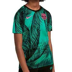 Camiseta Nike Barcelona niño pre-match UCL 2020 2021 - Camiseta infantil pre partido del FC Barcelona para la Champions League 2020 2021 - verde azulado - frontal