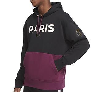 Sudadera Nike x Jordan PSG Fleece Hoodie - Sudadera con capucha Nike x Jordan París Saint-Germain - negra y morada - frontal