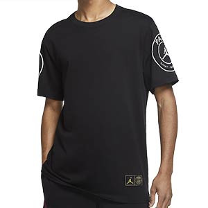 Camiseta algodón Nike x Jordan PSG Logo - Camiseta de algodón Nike X Jordan del Paris Saint-Germain - negra - frontal