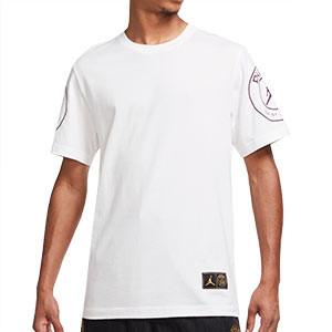Camiseta algodón Nike X Jordan PSG Logo - Camiseta de algodón Nike X Jordan del Paris Saint-Germain - blanca - frontal