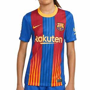 Camiseta Nike 4a Barcelona niño Senyera 2021 Stadium - Camiseta infantil Nike cuarta equipación FC Barcelona 2021 - azulgrana - frontal
