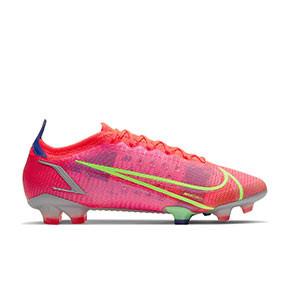 Nike Mercurial Vapor 14 Elite FG - Botas de fútbol Nike FG para césped natural o artificial de última generación - rosa rojizas, plateadas, azul moradas - pie derecho