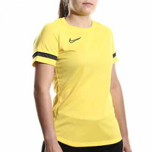 Camiseta Nike Dri-Fit Academy 21 mujer - Camiseta de maga corta de mujer para entrenamiento fútbol Nike - amarilla - miniatura frontal