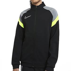 Chaqueta Nike Dry Academy niño - Chaqueta de chándal infantil de fútbol Nike - negra y amarillo flúor - frontal