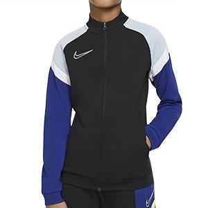 Chaqueta Nike niño Dry Academy - Chaqueta de chándal de fútbol infantil Nike - negra y azul - frontal