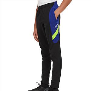 Pantalón Nike niño Dry Academy - Pantalón largo de entrenamiento infantil Nike - negro y azul - frontal