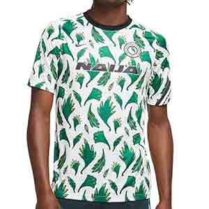 Camiseta Nike Nigeria pre-match 2020 2021 - Camiseta calentamiento pre partido de la selección de Nigeria  2020 2021 - blanca y verde - frontal