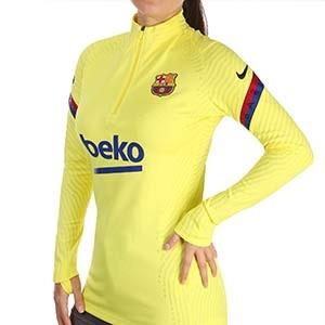 Sudadera Nike Barcelona entreno mujer Vapor Knit Strike 19 2020 - Sudadera de mujer oficial de entrenamiento FC Barcelona 2019 2020 - amarilla - frontal