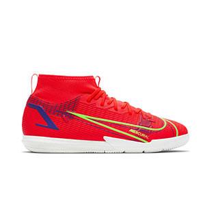 Nike Mercurial Jr Superfly 8 Academy IC - Zapatillas de fútbol sala infantiles con tobillera Nike suela lisa IC - rosa rojizas, plateadas, azul moradas - pie derecho