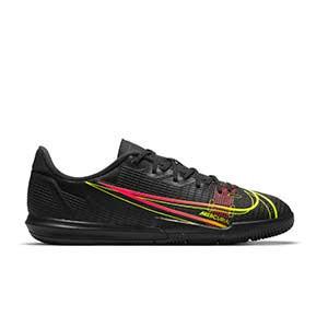 Nike Mercurial Jr Vapor 14 Academy IC - Zapatillas de fútbol sala infantiles Nike suela lisa IC - negras - pie derecho