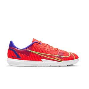 Nike Mercurial Jr Vapor 14 Academy IC - Zapatillas de fútbol sala infantiles Nike suela lisa IC - rosa rojizas, plateadas, azul moradas - pie derecho