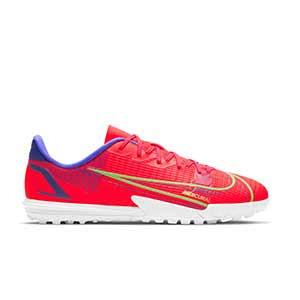 Nike Mercurial Jr Vapor 14 Academy TF - Zapatillas de fútbol multitaco infantiles Nike suela turf - rosa rojizas, plateadas, azul moradas - pie derecho