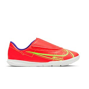 Nike Mercurial Jr Vapor 14 Club IC PS V - Zapatillas de fútbol sala infantiles con velcro Nike suela lisa IC - rosa rojizas, plateadas, azul moradas - pie derecho