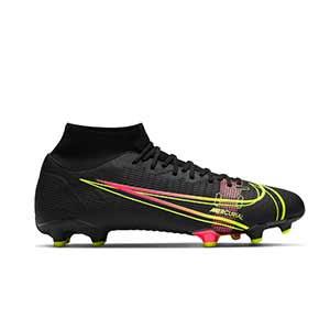 Nike Mercurial Superfly 8 Academy FG/MG - Botas de fútbol con tobillera Nike FG/MG para césped artificial - negras - pie derecho