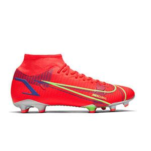 Nike Mercurial Superfly 8 Academy FG/MG - Botas de fútbol con tobillera Nike FG/MG para césped artificial - rosa rojizas, plateadas, azul moradas - pie derecho