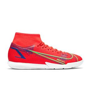 Nike Mercurial Superfly 8 Academy IC - Zapatillas de fútbol sala con tobillera Nike suela lisa IC - rosa rojizas, plateadas, azul moradas - pie derecho