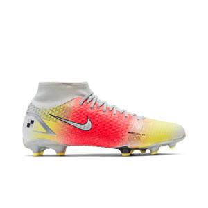 Nike Mercurial Superfly 8 Academy MDS 4 FG/MG - Botas de fútbol con tobillera Nike FG/MG para césped artificial - naranjas y blancas - pie derecho