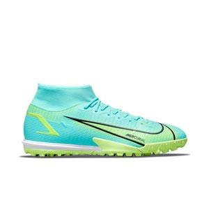 Nike Mercurial Superfly 8 Academy TF - Zapatillas de fútbol multitaco con tobillera Nike suela turf - azules turquesa - pie derecho