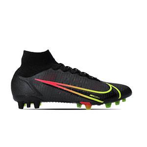 Nike Mercurial Superfly 8 Elite AG - Botas de fútbol con tobillera Nike AG para césped artificial - negras - pie derecho