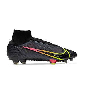 Nike Mercurial Superfly 8 Elite FG - Botas de fútbol con tobillera Nike FG para césped natural o artificial de última generación - negras - pie derecho