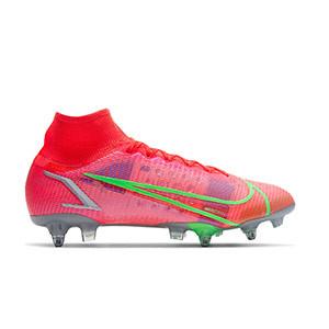 Nike Mercurial Superfly 8 Elite SG-PRO AC - Botas de fútbol con tobillera Nike SG con tacos de alúminio para césped natural blando - rosa rojizas, plateadas, azul moradas - pie derecho
