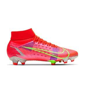 Nike Mercurial Superfly 8 Pro FG - Botas de fútbol con tobillera Nike FG para césped natural o artificial de última generación - rosa rojizas, plateadas, azul moradas - pie derecho