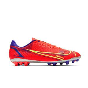 Nike Mercurial Vapor 14 Academy AG - Botas de fútbol Nike AG para césped artificial - rosa rojizas, plateadas, azul moradas - pie derecho