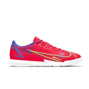 Nike Mercurial Vapor 14 Academy IC - Zapatillas de fútbol sala Nike suela lisa IC - rosa rojizas, plateadas, azul moradas - pie derecho