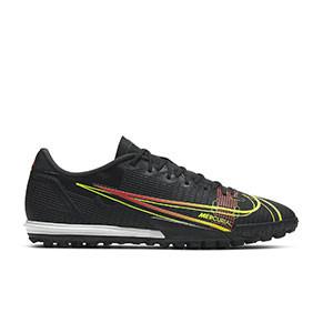 Nike Mercurial Vapor 14 Academy TF - Zapatillas de fútbol multitaco Nike suela turf - negras - pie derecho