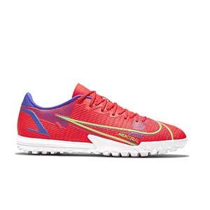 Nike Mercurial Vapor 14 Academy TF - Zapatillas de fútbol multitaco Nike suela turf - rosa rojizas, plateadas, azul moradas - pie derecho