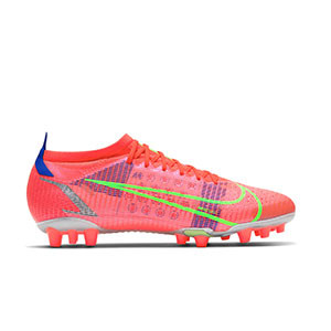 Nike Mercurial Vapor 14 Pro AG - Botas de fútbol Nike AG para césped artificial - rosa rojizas, plateadas, azul moradas - pie derecho