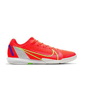 Nike Zoom Mercurial Vapor 14 PRO IC - Zapatillas de fútbol sala Nike suela lisa IC - rosa rojizas, plateadas, azul moradas - pie derecho