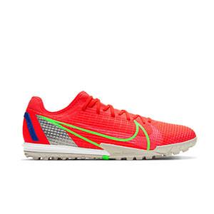 Nike Zoom Mercurial Vapor 14 PRO TF - Zapatillas de fútbol multitaco Nike suela turf - rosa rojizas, plateadas, azul moradas - pie derecho