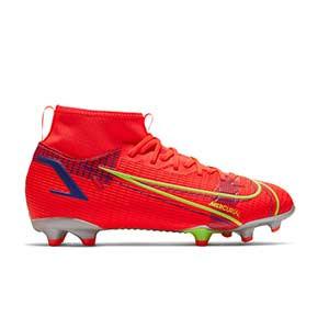 Nike Mercurial Jr Superfly 8 Academy FG/MG - Botas de fútbol con tobillera infantiles Nike FG/MG para césped artificial - rosa rojizas, plateadas, azul moradas - pie derecho