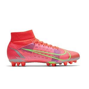 Nike Mercurial Superfly 8 Pro AG - Botas de fútbol con tobillera Nike AG para césped artificial - rosa rojizas, plateadas, azul moradas - pie derecho