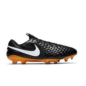 Nike Tiempo Legend 8 Elite TC FG - Botas de fútbol de piel de canguro Nike Tech Craft FG para césped natural o artificial de última generación - negras - pie derecho