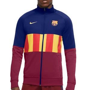Chaqueta Nike Barcelona I96 himno El Clásico 2021 - Chaqueta chándal himno Nike FC Barcelona 2021 - azulgrana - frontal
