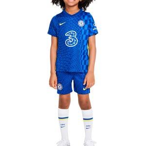 Equipación Nike Chelsea niño 3-8 años 2021 2022 - Conjunto infantil 3-8 años primera equipación Nike Chelsea 2021 2022 - azul - frontal