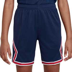 Short Nike PSG x Jordan 2021 2022 niño Dri-Fit Stadium - Pantalón corto infantil primera equipación Nike x Jordan del París Saint-Germain 2021 2022 - azul marino - frontal