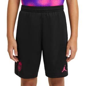 Short Nike x Jordan niño 4a PSG 2021 Stadium - Pantalón corto Nike x Jordan infantil cuarta equipación París Saint-Germain 2021 - negro - frontal