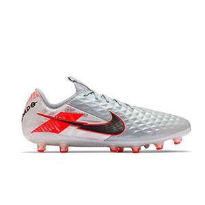 Nike Tiempo Legend 8 Elite AG-PRO - Botas de fútbol de piel de canguro Nike AG-PRO para césped artificial - plateadas y rosas - derecho