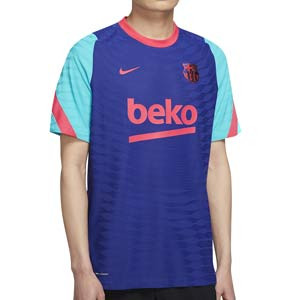 Camiseta Nike Barcelona entreno Vaporknit Strike 2021 - Camiseta de entrenamiento Nike del FC Barcelona 2021 - azul y rosa - frontal