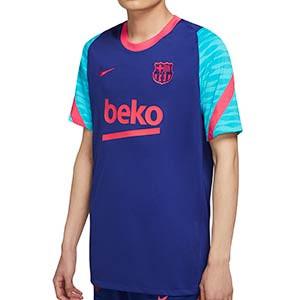 Camiseta Nike Barcelona entreno 2021 Stike - Camiseta de entrenamiento Nike del FC Barcelona 2021 - azul y rosa - frontal