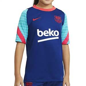 Camiseta Nike Barcelona entreno niño Strike 2021 - Camiseta de entrenamiento infantil Nike del FC Barcelona 2021 - azul y rosa - frontal