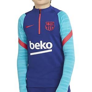 Sudadera Nike Barcelona entreno niño 2021 Strike - Sudadera entrenamiento infantil Nike FC Barcelona 2021 - azul - frontal
