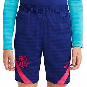 Short Nike Barcelona entreno niño 2021 Strike - Pantalón corto entrenamiento infantil Nike FC Barcelona 2021 - azul marino - frontal