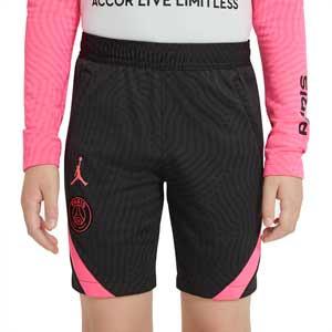 Short Nike PSG niño entreno 2021 Strike - Pantalón corto entrenamiento infantil Nike del París Saint-Germain 2021 - negro - frontal